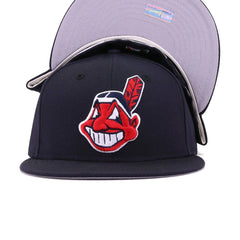 Cleveland Indians Navy Chief Wahoo Cooperstown New Era 59Fifty Fitted