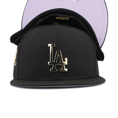 Los Angeles Dodgers Black Gold Metal Badge 50th Anniversary New Era 59Fifty Fitted
