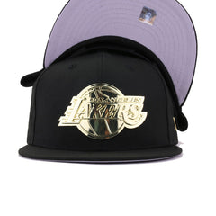 Los Angeles Lakers Black Gold Metal Badge Trophy New Era 9Fifty Snapback