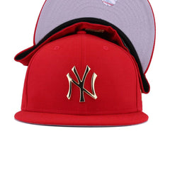 New York Yankees Scarlet Gold Metal Badge New Era 59Fifty Fitted