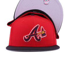 Atlanta Braves Scarlet Navy Tomahawk New Era 59Fifty Fitted