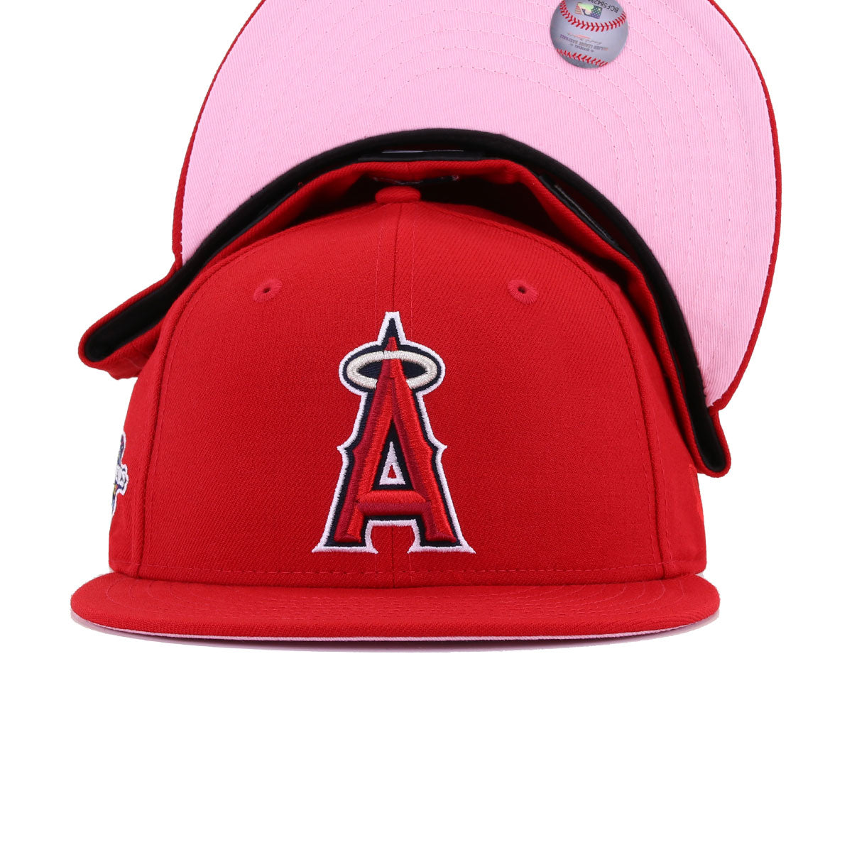 Los Angeles Angels Scarlet 2002 World Series Pink Bottom New Era 59Fifty Fitted