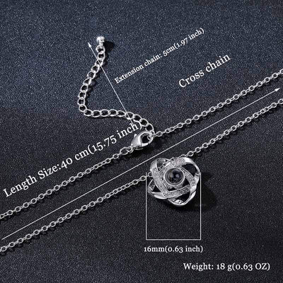 Infinity Love Knot  Say I love you in 100 Languages Necklace Preserved XL Rose box