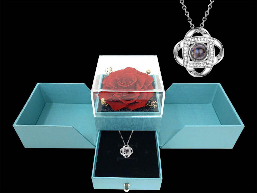 Infinity rose box with love knot say i love you in 100 languages necklace