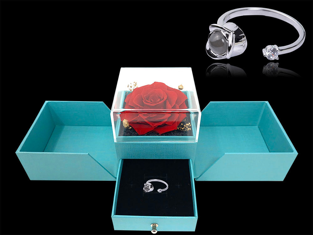 Forever rose ring I love you in 100 languages with preserved rose box
