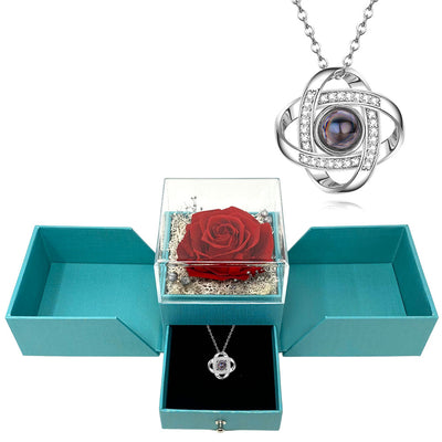 Infinity Love Knot  Say I love you in 100 Languages Necklace Preserved XL forever Rose box