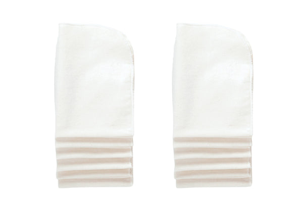 White Cotton Washable Burp Cloths - 12 Per Package