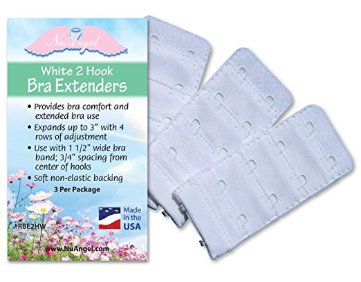 Three 2-hook white bra extenders per package