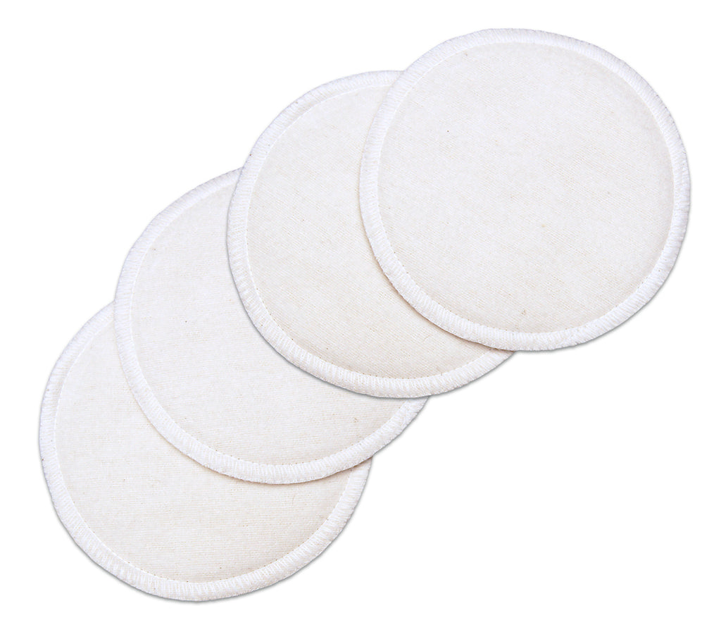 White Cotton Washable Nursing Pads (4 Per Package)
