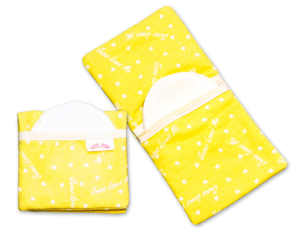 "Flip and Go™ Nursing Pad Case - yellow ""Jesus Loves Me"""