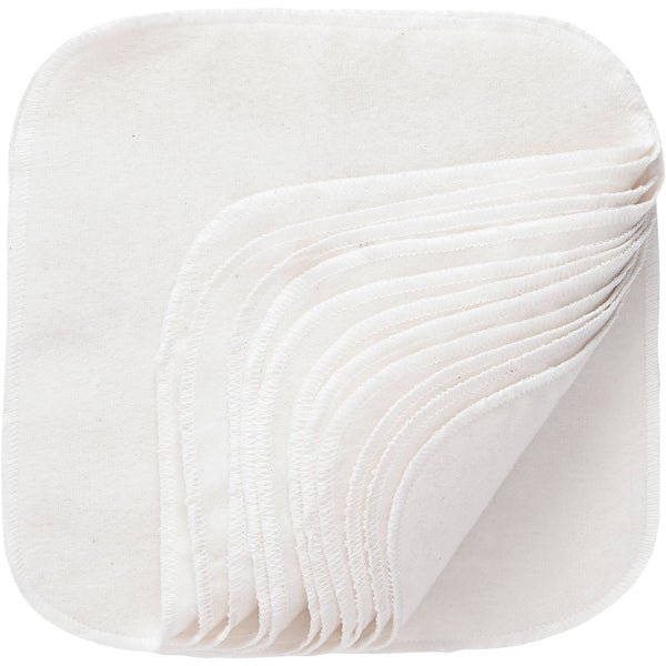 Cotton Washable Baby Wipes - 12 Per Package