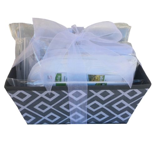gray baby gift basket