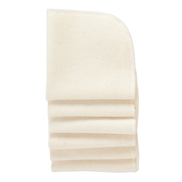 Natural Cotton Washable Wipes - 6 Per Package