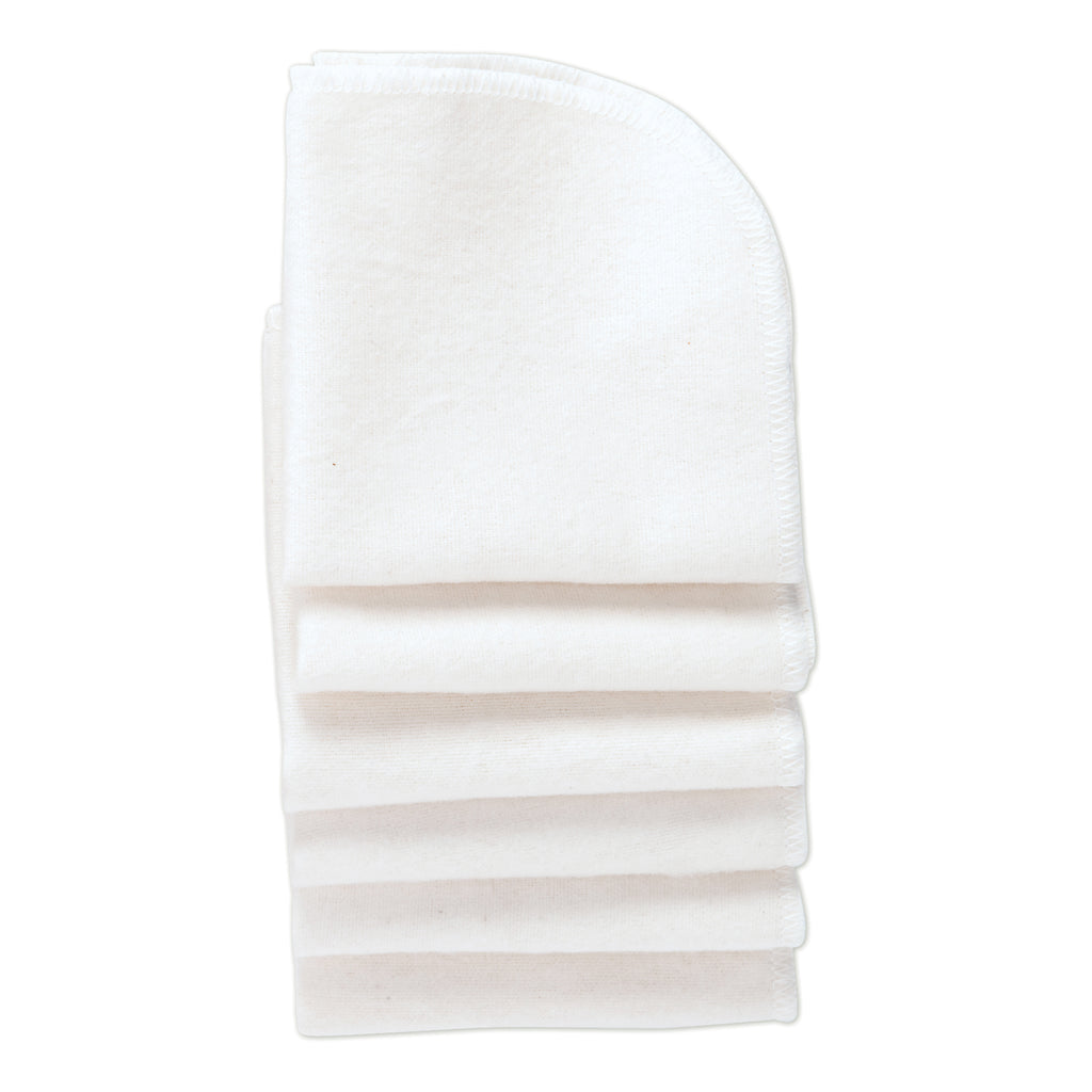 White Cotton Baby Washcloths- 6 Per Package
