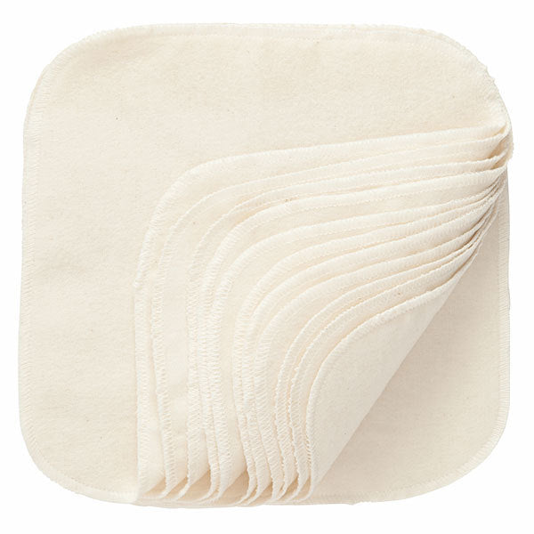 Natural Cotton Washable Baby Wipes - 12 Per Package