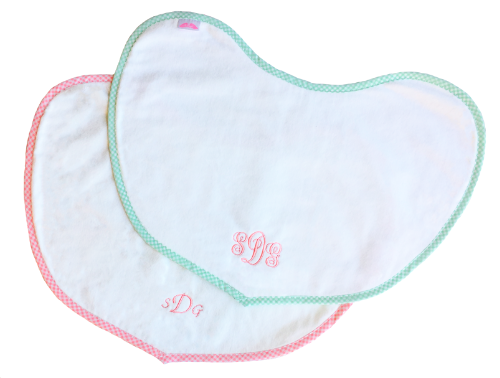 pink mint gingham trim burp pad monogram