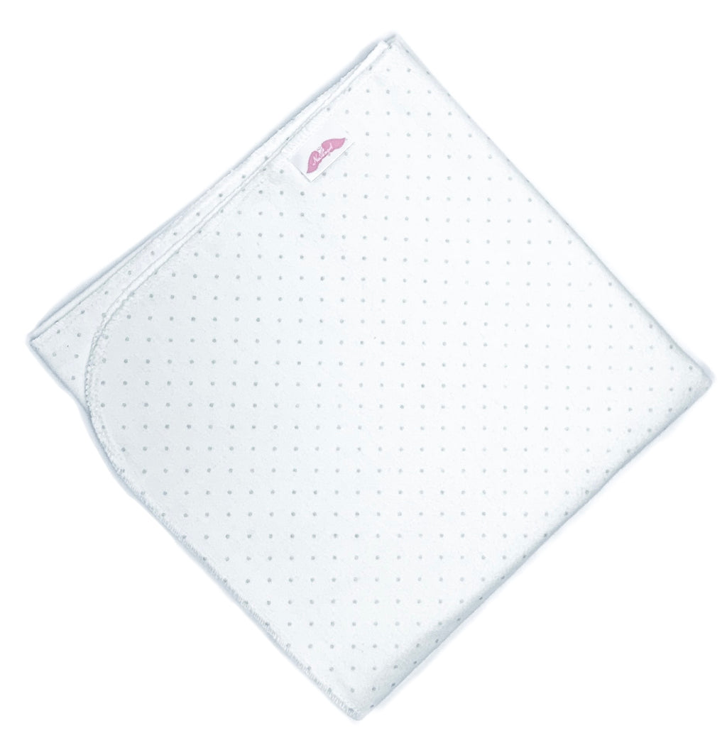 "NuAngel Large Receiving Blanket - White w/Gray Dots 40"" x 40"""