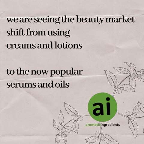 At Aromatic Ingredients we are seeing the beauty market shift from creams and lotions, to the now popular serums and oils to hydrate and nourish your face