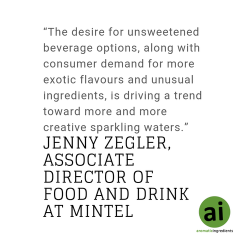 "As described by Jenny Zegler, associate director of food and drink at Mintel, ""The desire for unsweetened beverage options, along with consumer demand for more exotic flavours and unusual ingredients, is driving a trend toward more and more creative sparkling waters."""