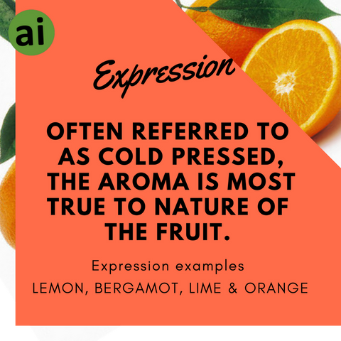 The Process of Expression is often referred to as cold pressed - Aromatic Ingredients