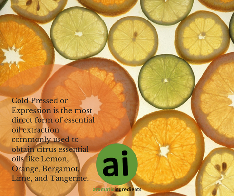 Expression is the most direct form of essential oil extraction commonly used to obtain citrus essential oils like Lemon, Orange, Bergamot, Lime, and Tangerine.