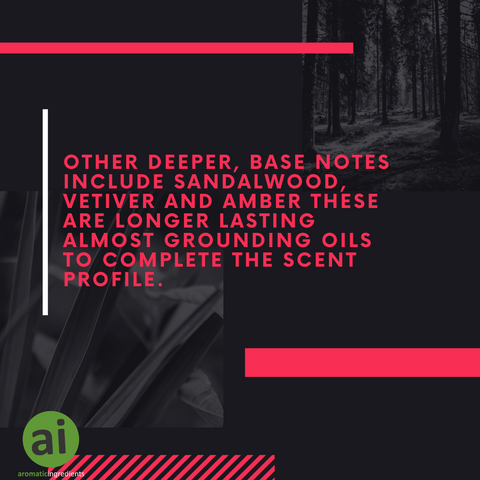 Other deeper, base notes include sandalwood, vetiver and amber these are longer lasting almost grounding oils to complete the scent profile.