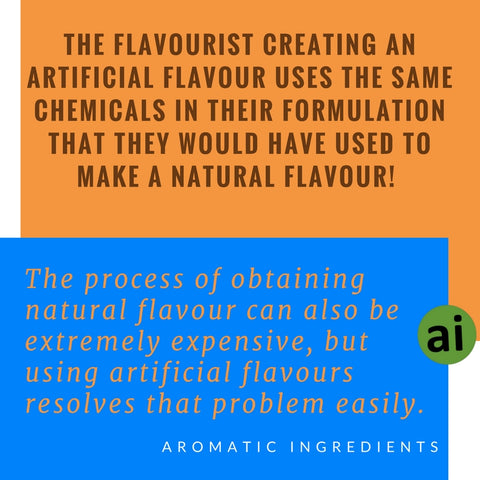 The flavourist creating an artificial flavour must actually use the same chemicals in their formulation that they would have used to make a natural flavour! - Aromatic Ingredients