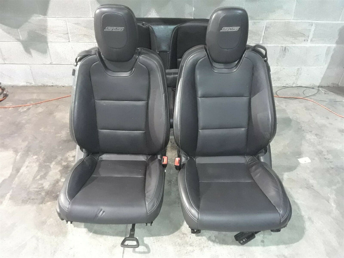 10-15 Camaro Ss Convertible Front Rear Black Leather Seats Seat Set Aa6518