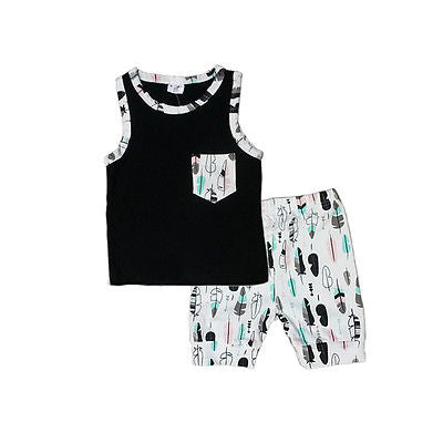 Sleeveless Cotton tank top pullover with matching shorts, pocket and with the matching feather print design. 2 piece set for spring/summer weather. Black, teal, white, pink neutral set for boys or girls. Size 12M-3T - Here Comes A Baby
