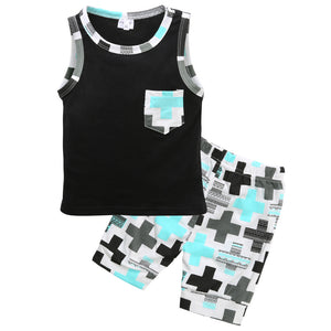 Black sleeveless tank top with pocket, matching shorts, lined sleeve. Lightweight for spring/summer weather. 2 piece set. - Here Comes A Baby