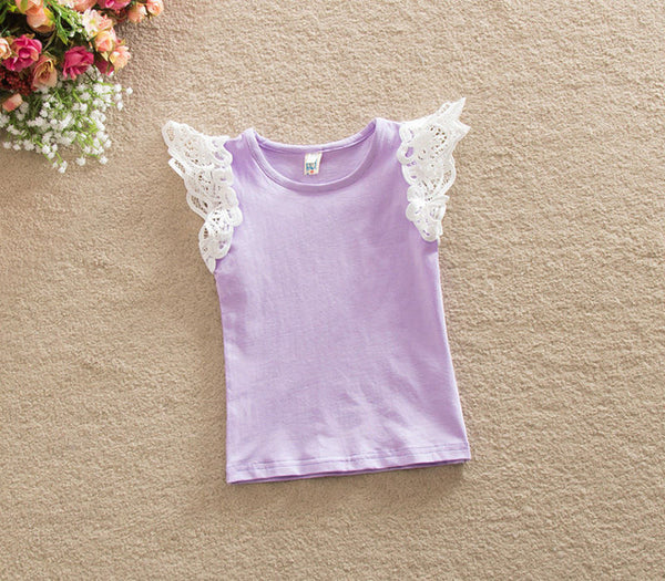 Solid Color Girls Casual Cotton T-shirt Tank top with Lace Patchwork Short Sleeve - Here Comes A Baby