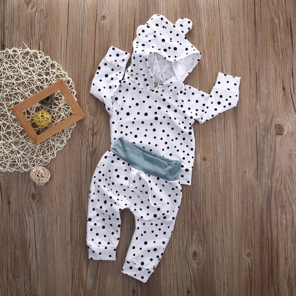 2pcs newborn kid baby boy girl clothes cute long sleeve cotton bear polka dot hooded sweatshirt+long pants baby clothes sets white black - Here Comes A Baby