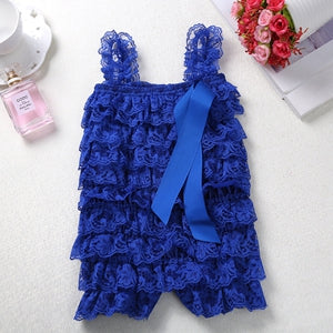 Baby Lace Rompers Infant Lace Romper with Straps Ribbon Bow Kids Jumpsuit Baby Girls Lace Ruffled Petti Romper - Here Comes A Baby