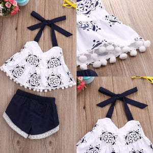 2 piece girls set. Halter tie top with tassel embellishment and floral design. Navy short with lace embroidery. - Here Comes A Baby