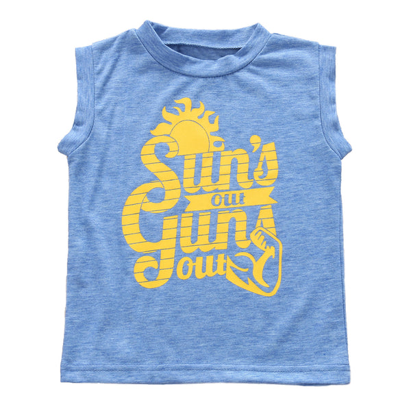 Blue and yellow Boys Summertime Cutoff Sleeveless Tank Top with Summertime Letter Print - Here Comes A Baby