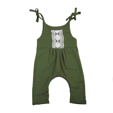 Olive green one piece Romper with lace patchwork design, long pants and tie shoulder tank top sleeves. - Here Comes A Baby