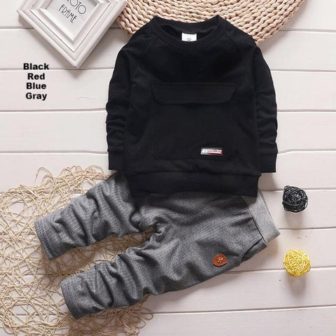 2016 New Baby Clothes Kids Suits Long Sleeve Sweatshirts + Pants Children Tracksuit Boys and Girls Clothes Set Kids Clothes red black blue grey sweatshirt and jogger pant - Here Comes A Baby