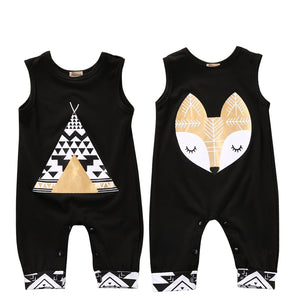 Gender Neutral Black sleeveless tank top romper. Great for a night outdoors or camping with your little boy or girl. - Here Comes A Baby