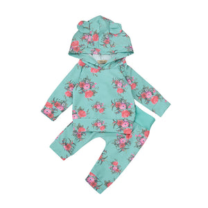 Baby girls romper Toddler Baby Newborn Boys Girl 2pcs Clothes Set Floral Hoodie Tops+Pants Outfits teal blue green with ears on hood sweatsuit - Here Comes A Baby