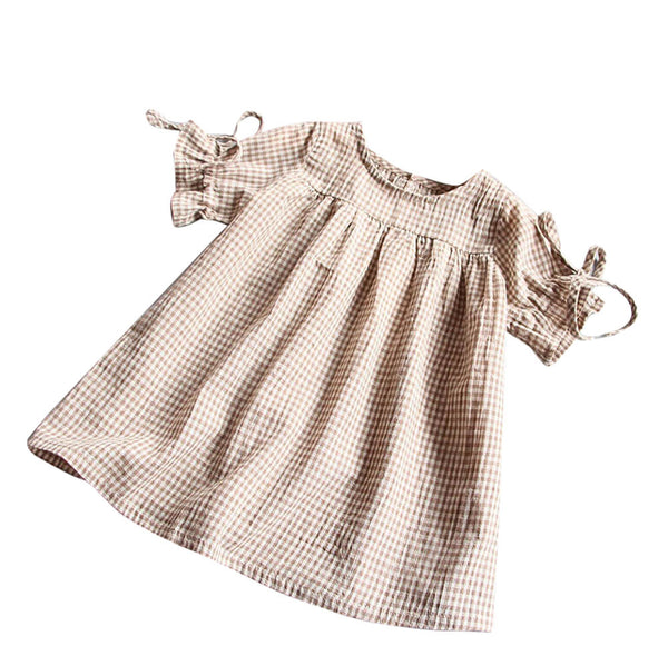 Girls dresses Toddler Kids Baby Girl Clothes dress Bowknot Plaid T-shirt Tops Party Princess Dresses drop shipping tie shoulder loose belle fit pilgrim autumn dress tan pin white - Here Comes A Baby
