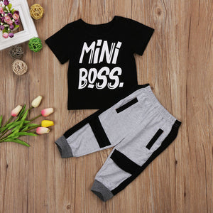 Black & grey 2 piece set comes with print tshirt and sweat style pants with deisgn. - Here Comes A Baby