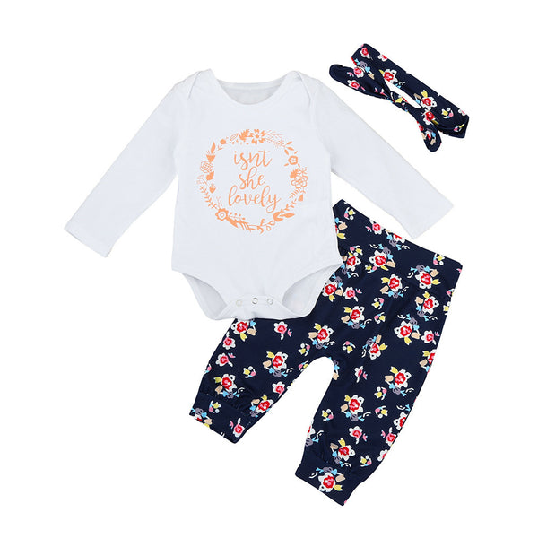 autumn clothes Cotton Letter Romper+Floral Pants +Headband Toddler Outfits Set 6-24M 3 piece long sleeve onesie printed with floral flower pants and headband - Here Comes A Baby