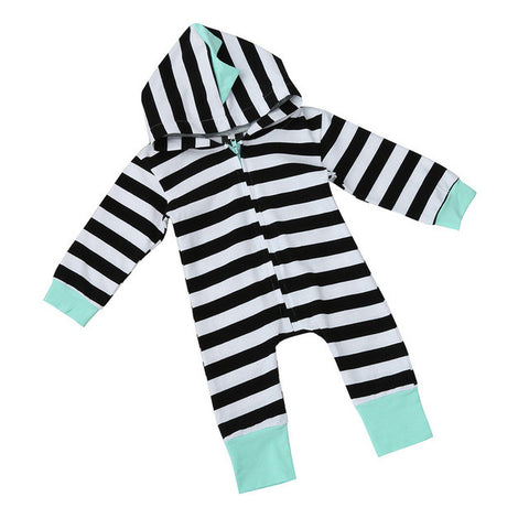 Newborn Baby Boy Girl Clothes Long Sleeve Striped Hooded Romper Jumpsuit Playsuit Outfits Cute Infant Baby Playsuit Costume black and white striped with teal boarder and shark fins - Here Comes A Baby