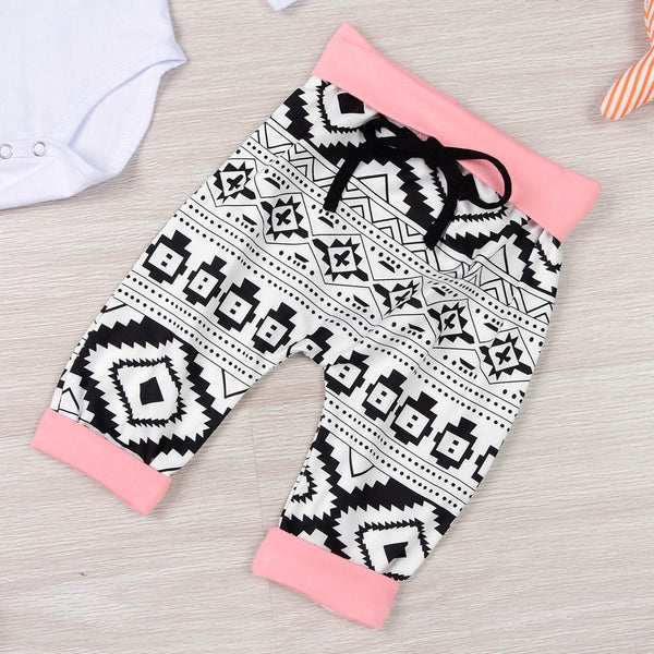 3PCS Set Newborn Baby Boy Girl Clothes Long Sleeve Bodysuit Romper Tops+Pant Trouser Headband Outfits Elephant Kids Clothing animal theme white black pink - Here Comes A Baby