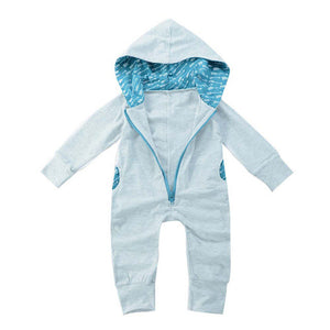 Zipper Hooded Romper Jumpsuit Playsuit 2PC Outfits Clothing with included beanie - Here Comes A Baby