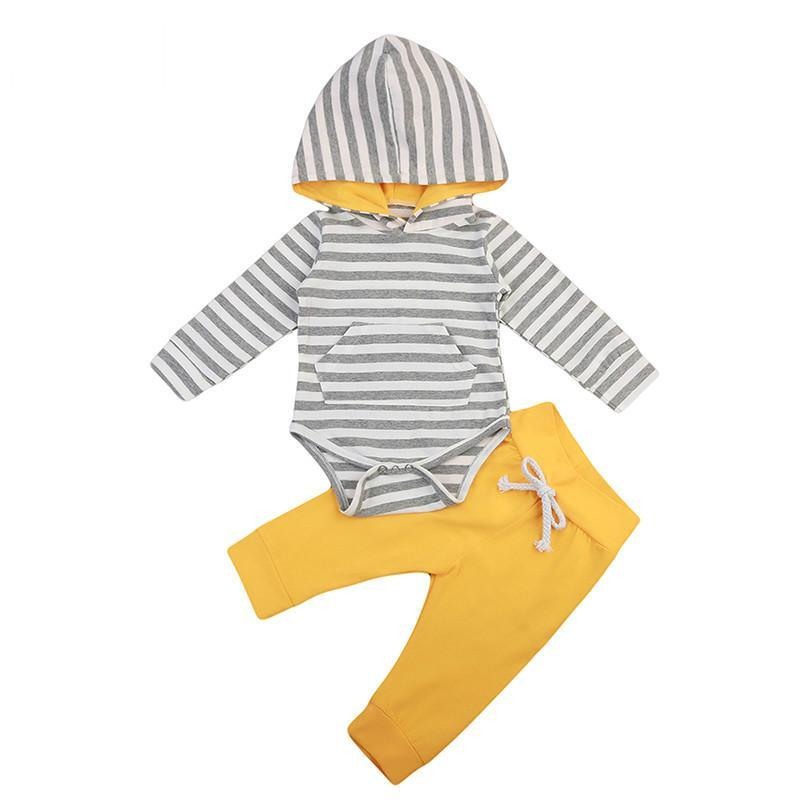 hooded striped onesie with pocket front and yellow pant to match inside the hood. - Here Comes A Baby