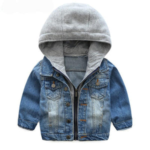 Baby Boys or girls Coat 2017 New Spring Autumn Wash Soft Denim Coat Hooded Zipper Coat Jeans Jacket for Kids Children Clothing - Here Comes A Baby