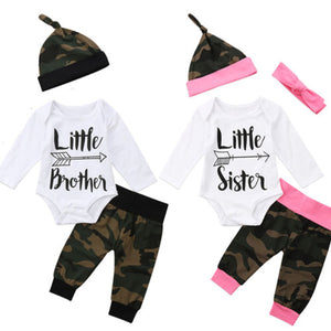 Newborn Infant Baby Boy Girl Little Brother Sister Outfits Romper + Camouflage Pant Legging - Here Comes A Baby