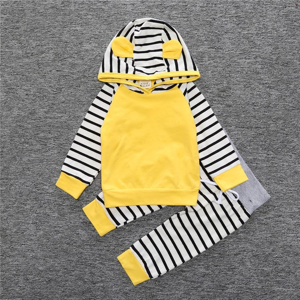 2 piece striped sweat suit set with solid color shirt stripped hood with bear ear to make it snuggly and extra beary cute - Here Comes A Baby