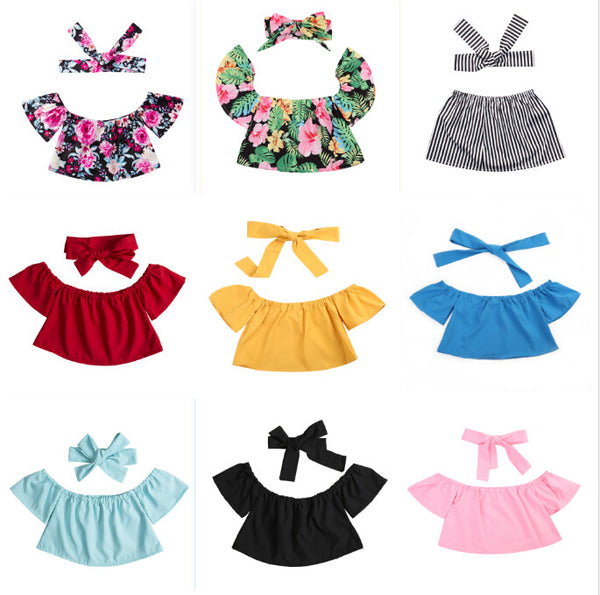 short crop top in various plain colors or floral print with matching headband - Here Comes A Baby